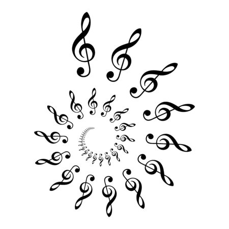 Treble clef spiral. Archimedean spiral made of  the most common musical symbol G-clef. Two turnings of an arithemetic spiral leads to a decorative pattern. Illustration. Vector.