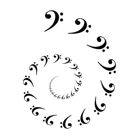 Bass clef spiral. Archimedean spiral made of  the most common musical symbol F-clef. Two turnings of an arithemetic spiral leads to a decorative pattern. Illustration. Vector.