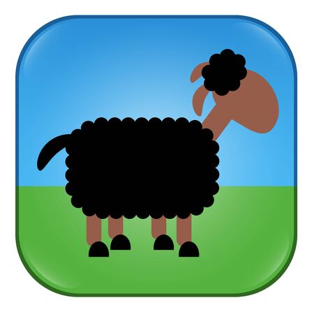 Black sheep symbol, button or app. Symbol for individuality, diversity, mismatch, for outsiders and dissidents. Comic illustration of a black sheep. 版權商用圖片 - 129969831
