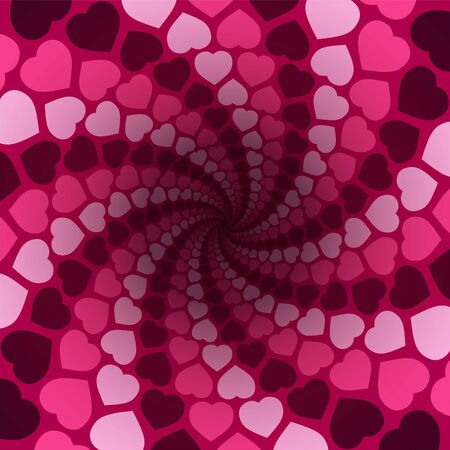 Hearts spiral pattern in a hypnotizing pink tunnel with dark center. Symbolic for rapture of love, confusion of love, love charm. Stock Illustratie
