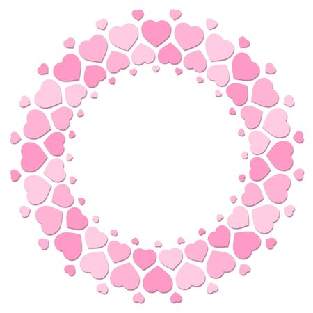 Pink hearts forming a round frame with blank center. Illustration on white background.