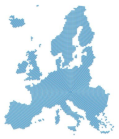 Europe map. Blue pattern with 3d iron beads going radial outwards from the center to form the silhouette of the EU area. Vector illustration on white background.