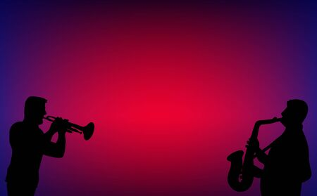 Trumpet and saxophone player duet, playing jazz, blues, swing or love songs in a dim night bar. Silhouette vector illustration on blue and red background.