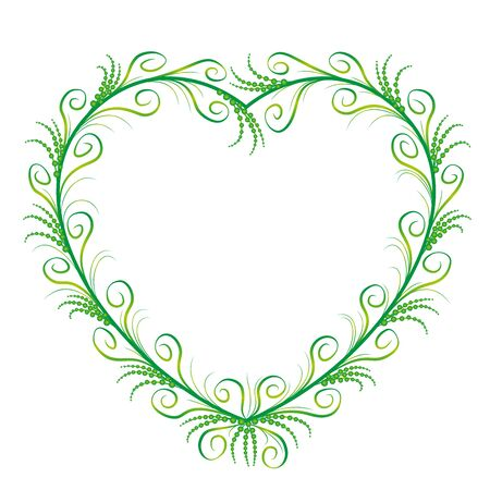 Delicate, filigree heart frame. Romantic, elegant, feminine, floral green heart ornament with graceful and sylphlike spiral flourishes. Isolated vector illustration on white background. Stockfoto - 129969958