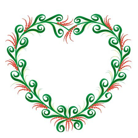 Heart shaped frame, rustic country style. Green and red ornament pattern with graceful and romantic spiral flourishes. Isolated vector illustration on white background.