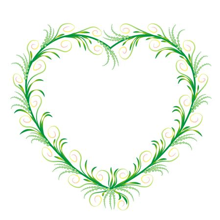 Romantic, elegant green heart ornament with delicate, filigree, graceful and sylphlike flourishes. Isolated vector illustration on white background. Illustration
