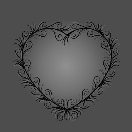 Black heart with elegant, delicate, filigree flourishes, but also mysterious, secretive, melancholic, occult, sinister and spooky. Isolated vector illustration on gray background.