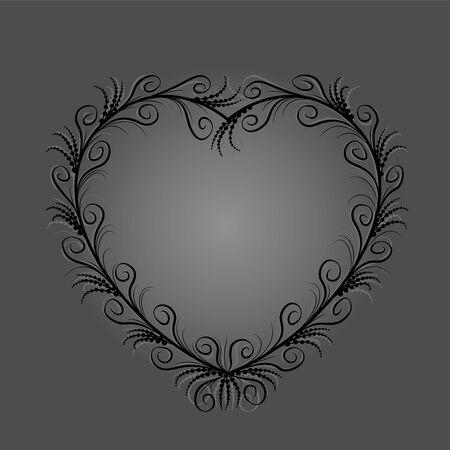 Schwarzes Herz mit eleganten, zarten, filigranen Schnörkeln, aber auch geheimnisvoll, geheimnisvoll, melancholisch, okkult, unheimlich und gespenstisch. Isolierte Vektor-Illustration auf grauem Hintergrund. Vektorgrafik
