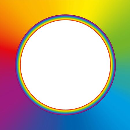 Rainbow colored round frame with colorful rainbow gradient background and white blank center. Vector illustration.