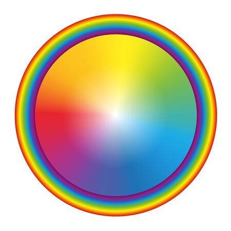 Rainbow gradient colored circle with round rainbow frame. Isolated vector illustration on white background.