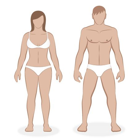 Couple with white underclothing. Isolated vector illustration of male and female body on white background.