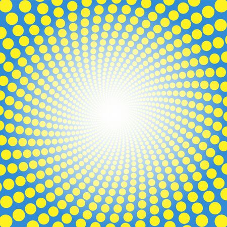 Yellow blue spiral pattern. Dotted tunnel with light center - twisted circular background illustration, hypnotic and psychedelic.