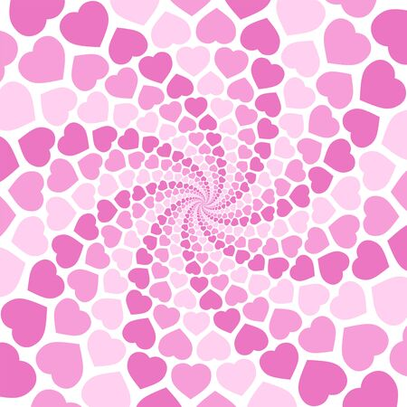 Pink spiral heart pattern background, hypnotizing tunnel. Symbolic for rapture of love, confusion of love, love charm. Illustration in white background Иллюстрация