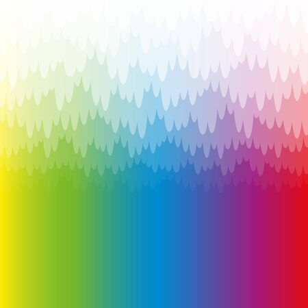 Rainbow colored misty and mystic background with white pendant translucent bank of haze. Spectral colors, square format, vector illustration.