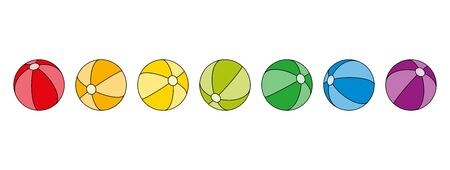 Seven rainbow colored balls in a row. Beach ball shaped spheres in the colors of a spectrum with stripes and black outlines. Isolated illustration on white background. Vector.