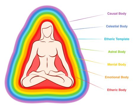 Aura bodies. Rainbow colored labeled layers of a female body. Etheric, emotional, mental, astral, celestial and causal layer. Isolated vector illustration on white background.  イラスト・ベクター素材