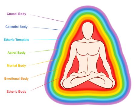 Aura bodies. Rainbow colored labeled layers of a male body. Etheric, emotional, mental, astral, celestial and causal layer. Isolated vector illustration on white background.  イラスト・ベクター素材