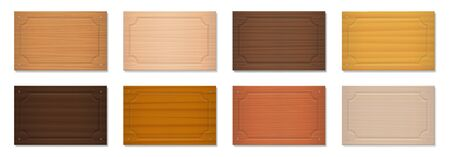 Wooden signboards, blank nameplates, rectangular badges. Set with different colors and textures from various trees - brown, dark, gray, light, red, yellow, orange decor models - vector on white.  イラスト・ベクター素材