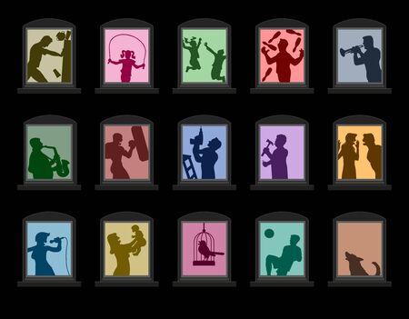 Inquinamento acustico da vicini rumorosi dietro finestre colorate di notte. Disturbare il volume come una coppia che litiga, musica fastidiosa, bambini che giocano. Illustrazione vettoriale su sfondo nero.