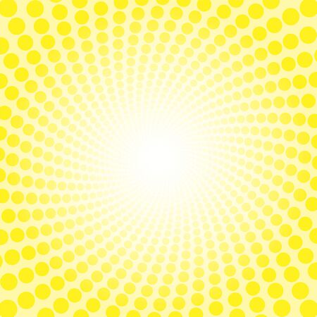 Yellow freshness spirale sun light pattern. Dotted tunnel with bright center - twisted circular background illustration, hypnotic and psychedelic.