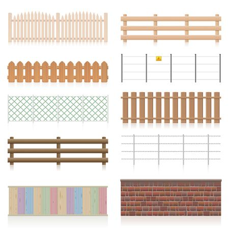 Different fences like wooden, garden, electric, picket, pasture, wire fence, wall, barbwire and other railings. Isolated vector illustration on white background. Çizim
