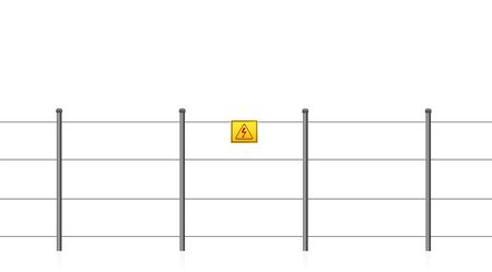 Electric fence with caution sign, warning of electrical shock. Seamless extendable isolated vector illustration on white background. Ilustração