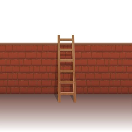 Brick wall with ladder to overcome obstacles and hurdles, to manage problems, to escape the everyday life, to break out from restrictions. Isolated vector illustration on white background. Illustration