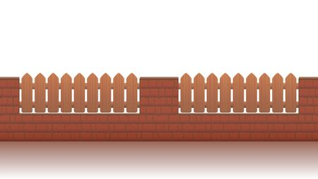 Low brick wall with little wooden fence.