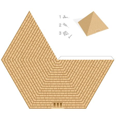 Pyramid paper model. Easy template - historical, egyptian 3D paper art - cut out, fold and glue it. Vector illustration on white background. Stock Illustratie
