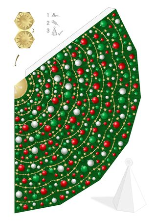 Paper model of christmas tree with red, green and white christmas balls and straw stars. Template to cut out, to fold and glue. Vector illustration on white background.