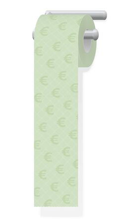 Toilet paper with euro signs. Symbol for wasting money or for expensive toiletries and hygiene products. Isolated vector illustration on white background.