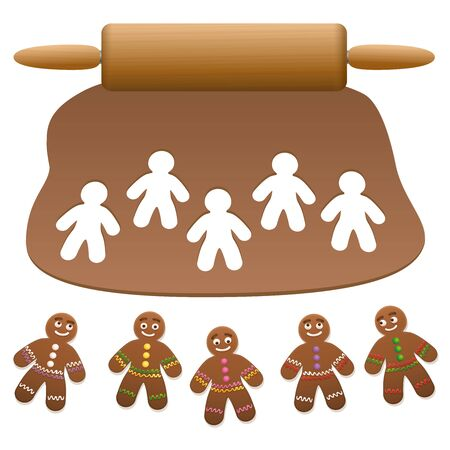 Gingerbread man group. Lebkuchen dough with wooden rolling pin and cut out gingerbread cookies. Isolated vector illustration on white background.