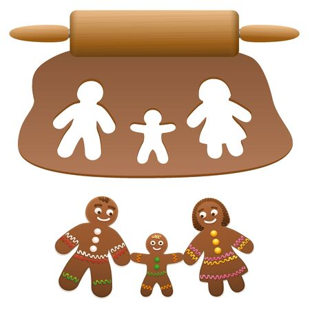 Gingerbread family, father, mother, child. Happy parents with their son cut out of lebkuchen dough. Isolated vector illustration on white background. 일러스트
