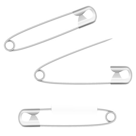 Safety pins, open, closed and pierced. Silver metallic household equipment. Isolated vector illustration on white background. Vektorgrafik