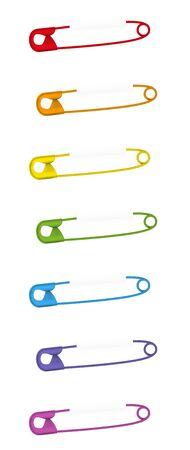 Pinned safety pins. Set of seven colored baby pins. Isolated vector illustration on white background.