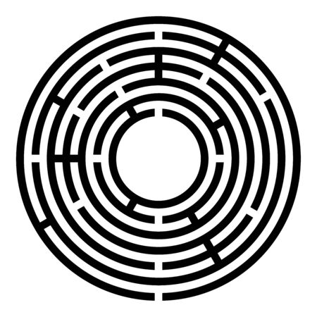 Small black circular maze. Radial labyrinth. Find a route to the centre. Print out and follow the path by a pencil or fingertip. Collection of paths from an entrance to a goal. Illustration. Vector.