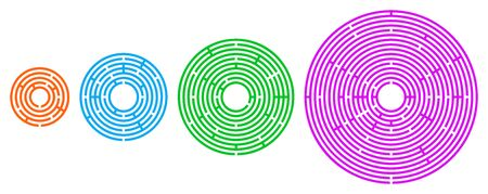 Four colored circular mazes in different sizes. Radial labyrinths in orange, blue, green and pink color on white background. Find a route from the entrance to the centre. Illustration. Vector. Ilustración de vector