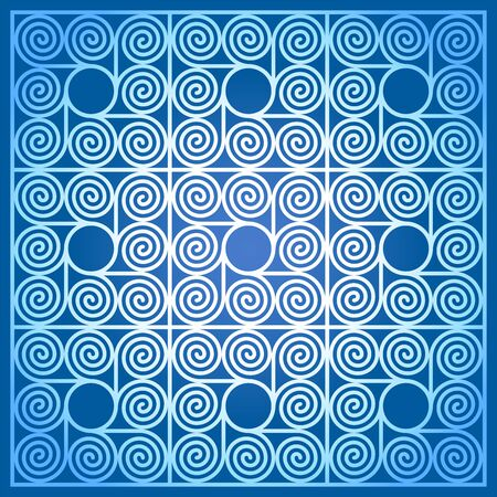 Blue colored background of nine square shaped tiles, made of arithmetic spirals around a circle. Pattern of Archimedean spirals of same intervals with a circle in the centre. Illustration. Vector.