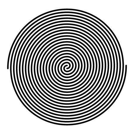 Dos grandes espirales lineales entrelazadas. Espirales de Arquímedes de color negro con diez vueltas de dos brazos de espirales aritméticas, girando con velocidad angular constante. Ilustración sobre blanco. Vector. Ilustración de vector