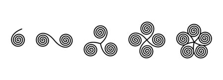 Connected linear spirals forming ancient symbols. Single and double spiral. Triskelion, consisting of a triple spiral. Tetraskelion is composed by four conjoined legs and pentaskelion by five. Vector