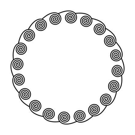Circle frame made by spirals on the inside. Linear spirals forming a decorative motif and pattern, constructed from repeated lines. Monochromatic illustration on white background. Vector.