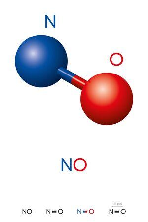 Stickoxid, NO, Molekülmodell und chemische Formel. Stickoxid, Stickstoffmonoxid oder Oxidstickstoff. Kugel-Stab-Modell, geometrische Struktur und Strukturformel. Illustration. Vektor. Vektorgrafik