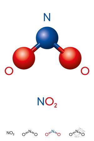 Stickstoffdioxid, NO2, Molekülmodell und chemische Formel. Stickstoff(IV)-oxid oder Deutoxid von Stickstoff. Kugel-Stab-Modell, geometrische Struktur und Strukturformel. Illustration. Vektor.