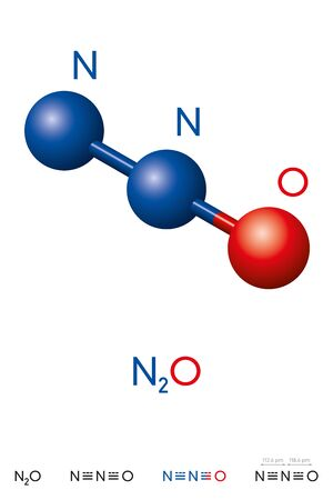 Nitrous oxide, N2O, laughing gas, molecule model and chemical formula. Dinitrogen monoxide is a colorless gas. Ball-and-stick model, geometric structure and structural formula. Illustration. Vector.