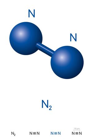 Nitrogen, N2 molecule model and chemical formula. Also dinitrogen, diatomic or molecular nitrogen. Ball-and-stick model, geometric structure and structural formula. Illustration over white. Vector.