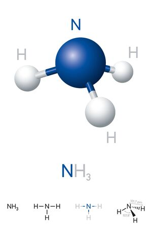 Ammonia, NH3, molecule model and chemical formula. Chemical compound of nitrogen and hydrogen. A colorless gas. Ball-and-stick model, geometric structure and structural formula. Illustration. Vector. Ilustração