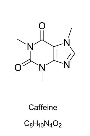 Formule squelettique de molécule de caféine. Structure 2D de C8H10N4O2, un alcaloïde méthylxanthine, également théine. Drogue psychoactive dans le café, le cola et le thé. Formule structurelle. Illustration sur blanc. Vecteur.