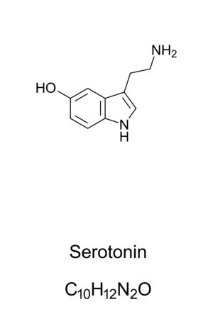 Serotonin molecule, skeletal formula. Structure of C10H12N2O. Monoamine neurotransmitter. Popular image as contributor to feelings of well-being and happiness. Structural formula. Illustration. Vector