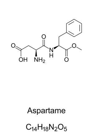 Aspartame molecule, skeletal formula. Structure of C14H18N2O5. Artificial sugar substitute, 200 times sweeter than sucrose. Methyl ester of the aspartic acid. Structural formula. Illustration. Vector.
