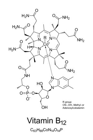 Vitamin B12, cobalamin, chemical structure. Involved in metabolism of every cell of the human body: DNA synthesis, functioning of nervous system and developing of red blood cells. Illustration. Vector Vecteurs